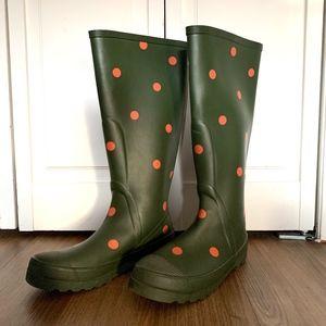 J.Crew polka dot rainboots, sz 7/7.5